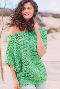 Пуловер из ажурных полос