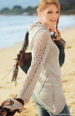 Бежевый пуловер с капюшоном