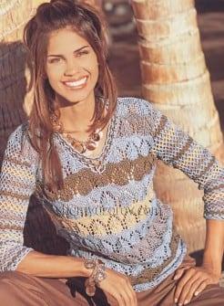 Ажурный пуловер с узором из арок