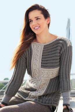 Пуловер в технике пэчворк