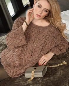 Удлиненный пуловер рельефным узором